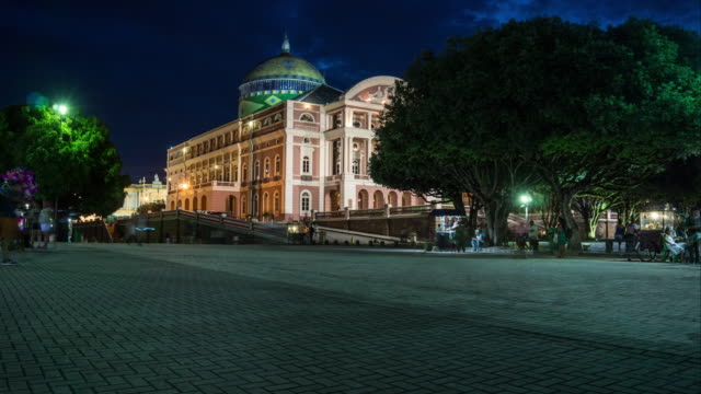 timelapse square opera house in manaus brazil - manaus stock videos and b-roll footage