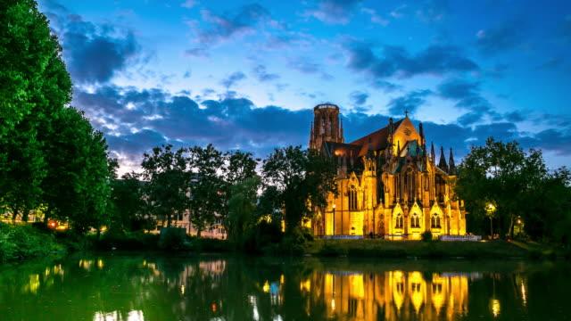 4K Time-lapse: St John's Cathedral Stuttgart, Germany at dusk