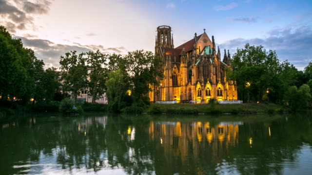 4K Time-lapse: St John's Cathedral Stuttgart, Germany at dusk