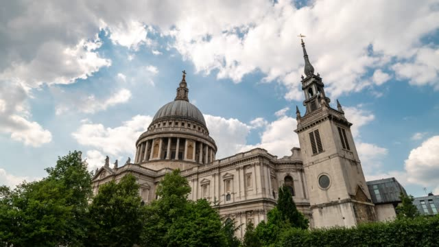 time-lapse: st paul's cathedral in london england uk - st. paul's cathedral london stock videos & royalty-free footage