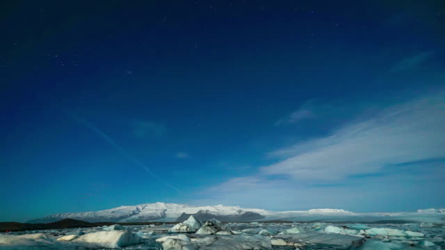 time-lapse: star trail at  vatnajokull glacier jokulsarlon iceland - arctic stock videos & royalty-free footage