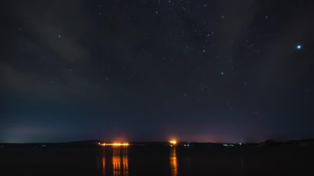 zeitraffer: star trails galaxy cosmos bewegt sich über lokale seenacht - sternenspur stock-videos und b-roll-filmmaterial