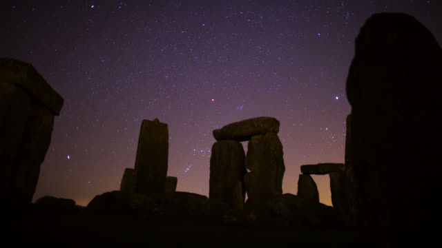 Timelapse stars track over prehistoric Stonehenge monument, Wiltshire, UK