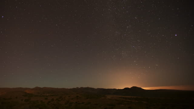 Timelapse stars track through night sky over desert, Dhofar, Oman
