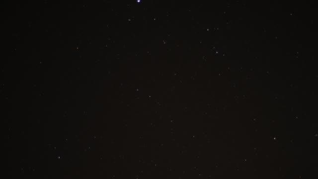 Timelapse stars track through sky at night, Oman