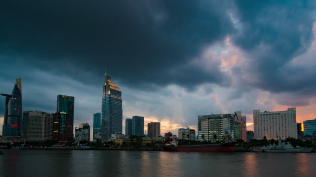 time-lapse storm is coming to the ho chi minh city, vietnam. - hanoi stock videos and b-roll footage
