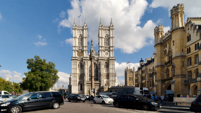 Time-lapse street level view of Westminster Abbey.