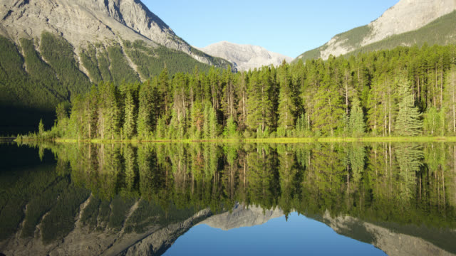 Timelapse sun rises over Rocky Mountains, lake and forest, Banff, Alberta, Canada