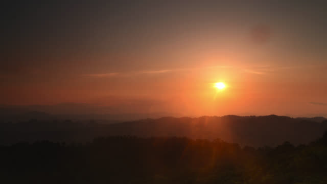 Timelapse sun sets over rainforested hills, Megatha, Myanmar