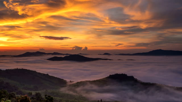 Timelapse sunrise above clouds in Thailand