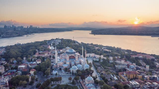 timelapse sunrise drone video of hagia sophia in istanbul - middle east stock videos & royalty-free footage