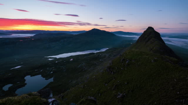 Timelapse sunrise of the Suilven summit and the Scottish Highlands