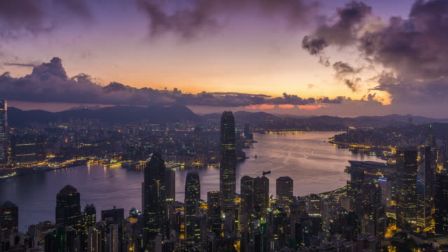 4K time-lapse : Sunrise over Victoria Harbor at Victoria Peak, Hong Kong