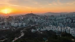 TImelapse sunrise scene of Seoul downtown city skyline