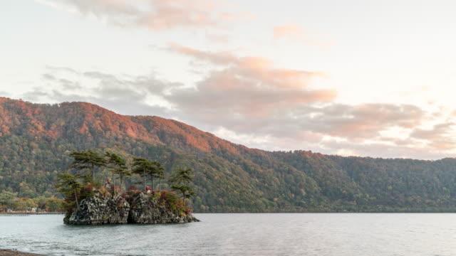 time-lapse: sunset at towada lake, aomori japan - aomori prefecture stock videos & royalty-free footage