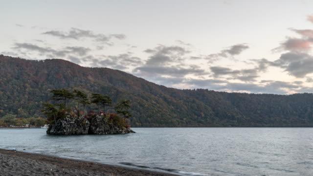 Zeitraffer: Sonnenuntergang am See Towada, Aomori Japan