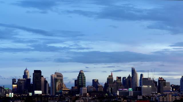 timelapse sunset bangkok city - sunset to night time lapse stock videos & royalty-free footage