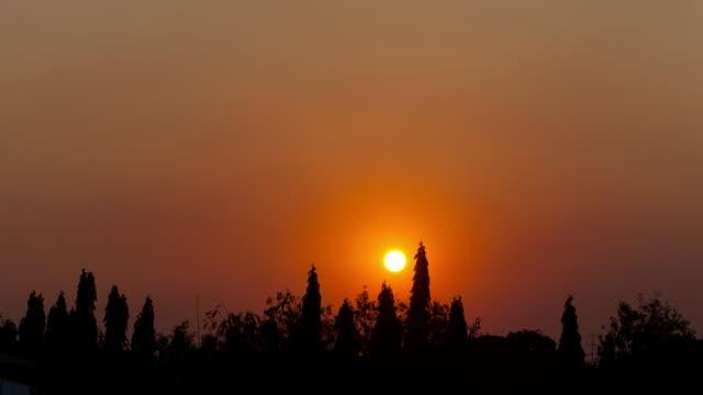 4 K Time-lapse: zonsondergang in de avond in het park.