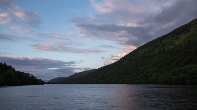 Timelapse sunset of Loch Oich in Scotland