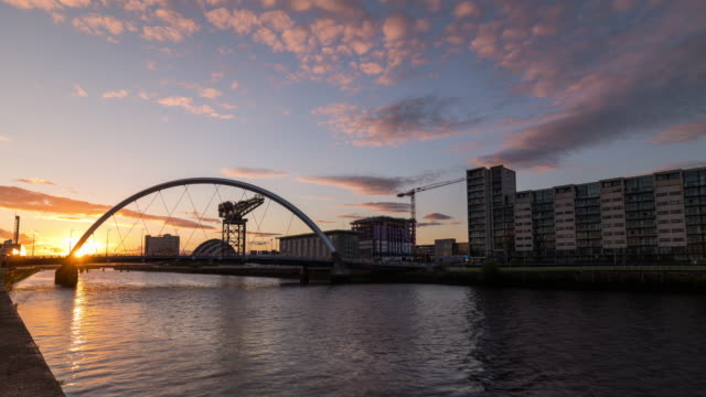 Timelapse sunset of River Clyde in Glasgow