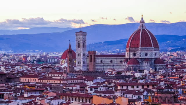 4k time-lapse sunset over florence, italy - florence italy stock videos and b-roll footage