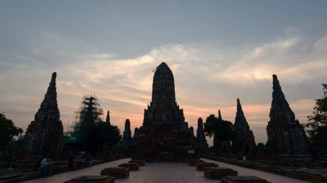 4K Time-lapse: Sunset time lapse Wat Chaiwattanaram, the famous temple in Ayutthaya, Thailand