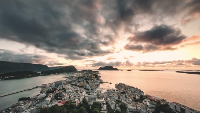 timelapse - sunset view of alesund from fjellstua - coastline stock videos & royalty-free footage
