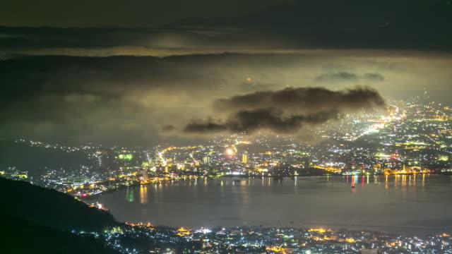 4 k zeitraffer: suwa-see aus takabochi nagano japan in der nacht, apple prores 422 (hq) 3840 x 2160-format - bedeckter himmel stock-videos und b-roll-filmmaterial
