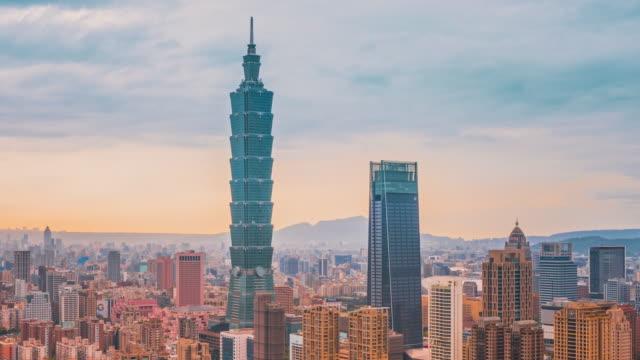 time-lapse taipei cityscape taipei 101 building of taipei financial city ,taiwan - taipei 101 stock videos & royalty-free footage