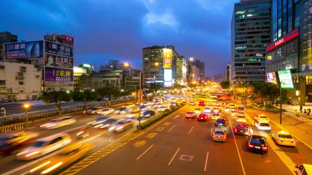 4 K Zeitraffer: Skyline von Taipeh Stadt am Hauptbahnhof Square