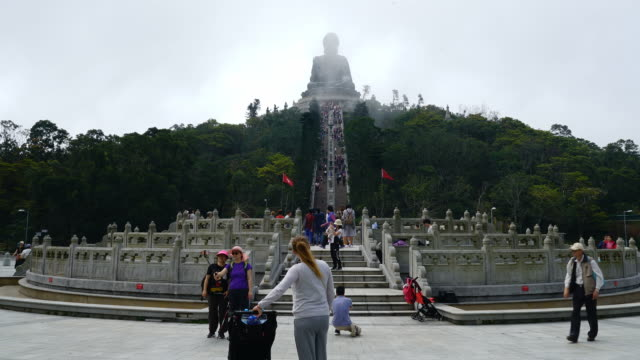 timelapse The big Buddha on Ngong Ping village in Hong Kong