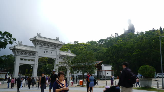 timelapse The big Buddha on Nong Ping village in Hong Kong