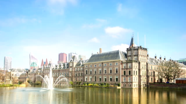 hd time-lapse: the binnenhof, house of parliament, hague netherlands - binnenhof stock videos and b-roll footage
