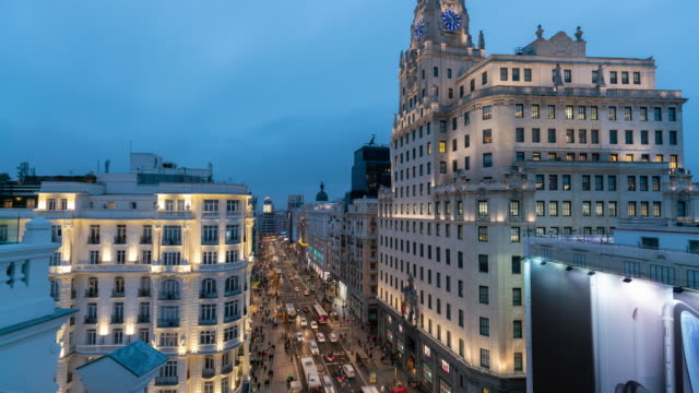 Timelapse the Gran via christmas light in Madrid from roof top terrace