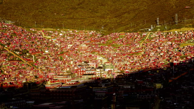 time-lapse :the red village in valley called seda in sichuan, china - seda stock videos & royalty-free footage