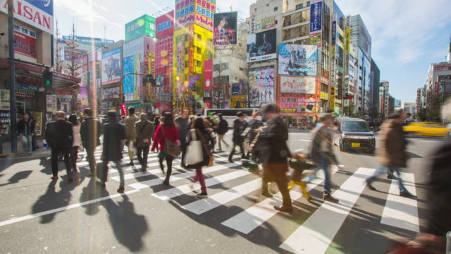 4K Time-lapse : The video game district in Akihabara in tokyo. Akihabara gained the name Akihabara Electric Town for being a major shopping center for household electronic goods.