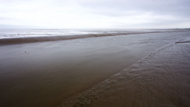 stockvideo's en b-roll-footage met timelapse tide recedes in channel on mud flats, norfolk, uk - getijde