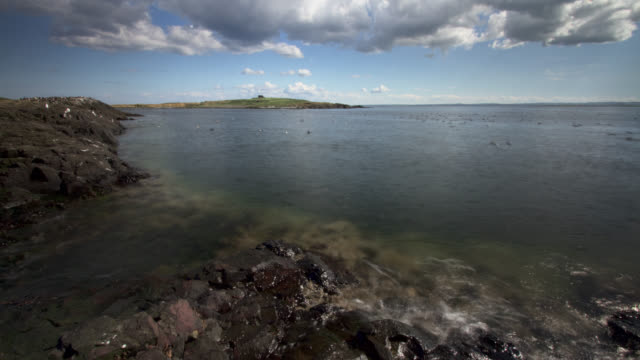 timelapse tide recedes on rock coast, farne islands, northumberland, uk - receding tide stock videos & royalty-free footage