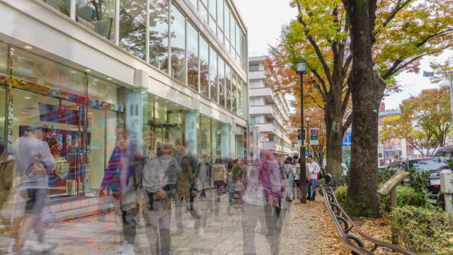 4k time-lapse tilt down : pedestrians crowded at harajuku tokyo , japan . - tilt stock videos & royalty-free footage