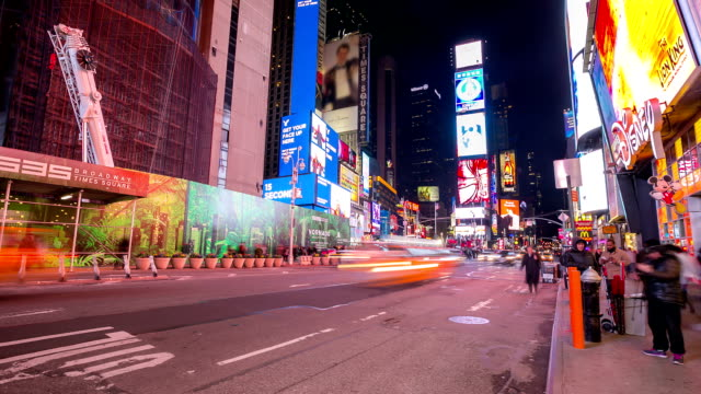 hd time-lapse: times square new york city raining at night - 2014 stock videos and b-roll footage