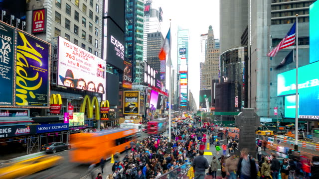 hd time-lapse: times square new york city - the americas stock videos & royalty-free footage