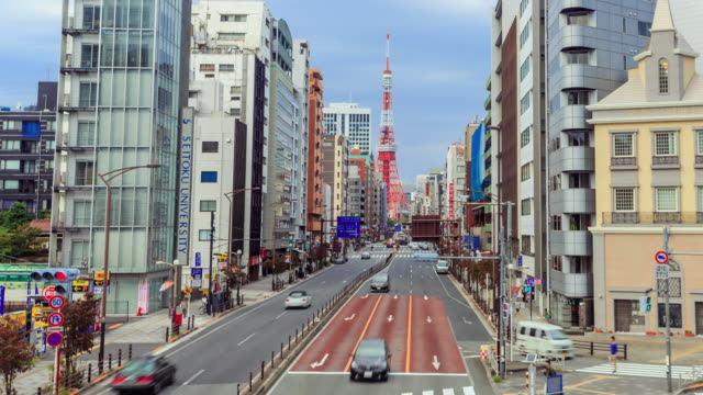 Timelapse tokyo city and tokyo tower skyline