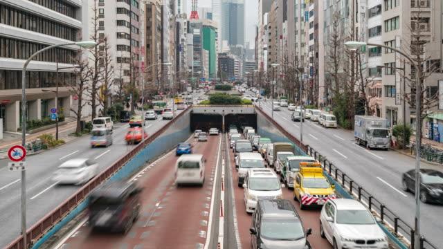 タイムラプス:新橋と銀座東京の東京道 - 交通輸送点の映像素材/bロール