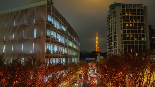 4k timelapse: tokyo tower and christmas illuminations in roppongi tokyo , japan - roppongi stock videos and b-roll footage