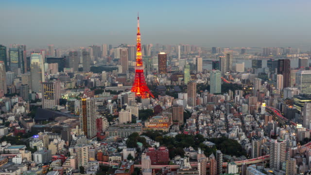 timelapse tokyo tower from roppongi hills at twilight - roppongi hills stock videos and b-roll footage