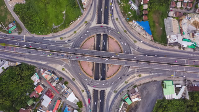 timelapse : top view of circle road traffic - traffic circle stock videos & royalty-free footage