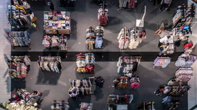 time-lapse top view of new normal shopping mall with social distance mark on floor. - customer stock videos & royalty-free footage