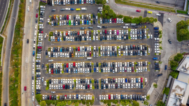 timelapse top view over outdoor parking lots - full stock videos & royalty-free footage