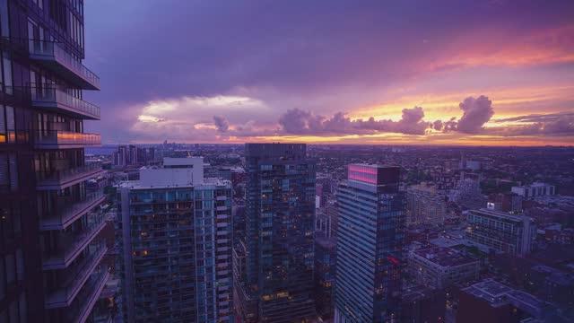 time-lapse :toronto skyline at night - flat stock videos & royalty-free footage