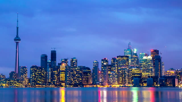 hd time-lapse: toronto skyline cityscapeat dusk canada - toronto stock videos & royalty-free footage